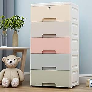 抽屉式收纳柜 塑料多用途儿童储物柜 置物整理柜 收纳箱杂物柜 (马卡龙-五层)