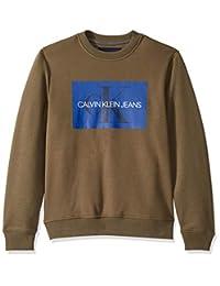 Calvin Klein 男式圆领抓绒运动夹克 带品牌Logo