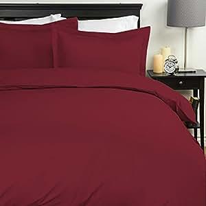 Sweet Home 系列 7 件套床上用品 - 羽绒被套和 1800 支 4 件套 *红色 全部 7 Pc Bedding Set -