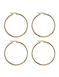 UNICRAFTALE 防*环状耳环 12 对 49.5 毫米不锈钢大环状耳环 1 毫米针金色耳线组件 DIY 耳环珠宝制作