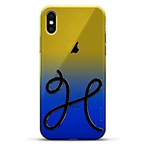 豪华设计师,3D 印花,时尚,高端,变色效果手机壳,适用于 iPhone Xs/X - 黄昏蓝小白色棒球图案LUX-IXCRM2B-INITIALH4 INITIALS: BLACK INITIAL H4 蓝色(Dusk)