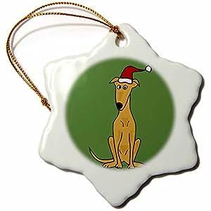 3drose ALL smiles ART 圣诞–FUNNY 灰狗小狗 IN 圣诞老人帽子圣诞艺术–饰品