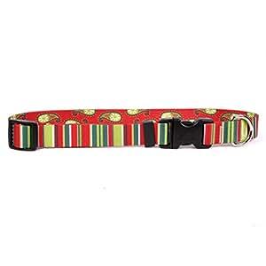 "YELLOW DOG Design 假期条纹狗项圈3/ 5.08cm 宽和 黄色 Medium 14"" - 20"" x 3/4"" Wide"
