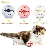 3 件互动猫咪玩具球,各种互动猫咪玩具闪光灯球铃铛猫薄荷球玩具适用于猫咪锻炼娱乐