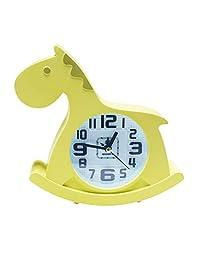 儿童闹钟,Roberlence Trojan形状卡通闹钟和青少年卧室大声铃自动闹钟 | 电池供电唤醒时钟和易于设置 | 适合沉睡者和贪睡唤醒时间(黄色)