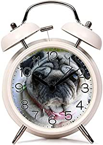 GIRLSIGHT 闹钟双铃复古静音闹钟床面和台钟,夜灯个性图案(红色、黑色、白色、蓝色)- 483.Pug、脸、狗、可爱、宠物、品种、犬、犬、犬、纯酒色 5.08 厘米 SCNZ001