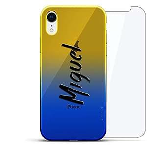 奢华设计师,3D 印花,时尚,高端,高端,Chameleon 变色效果,360 保护玻璃包手机套 iPhone Xr - Dusk Blue Tamara,现代字体名字LUX-IRCRM2B360-NMMIGUEL1 NAME: MIGUEL, HAND-WRITTEN STYLE 蓝色(Dusk)