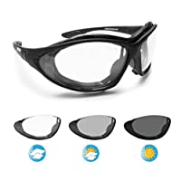 Bertoni 摩托车护目镜 Photochromic 防雾镜片 - 可互换手臂和弹性带 意大利 F333A 摩托车太阳传感器骑加垫眼镜