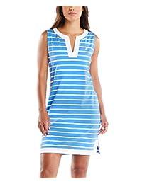 Nautica 女士 Breton 条纹无袖 V 领弹力棉 Polo 连衣裙 Reef Blue X-Large