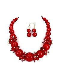 Comelyjewel 时尚珠宝女士仿珍珠珠领女士项链和耳环套装 金属红