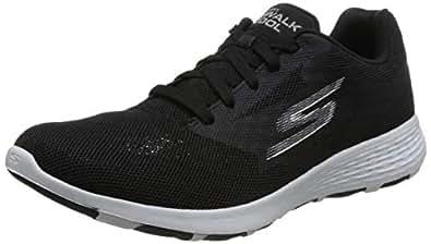 Skechers 斯凯奇 SKECHERS GO WALK COOL系列 男 休闲跑步鞋 轻质绑带健步鞋 54651-BKW 黑色/白色 44.5 (US 11)