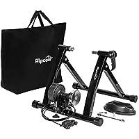 Alpcour 自行车训练器支架 - 便携式不锈钢室内训练器,带磁飞轮,降噪,6 种阻力设置,快速释放和包包 - 适用于公路和山地自行车的固定式锻炼
