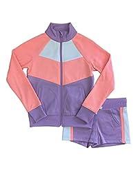 Avia 女孩紫色和橙色拉链夹克和短裤运动套装