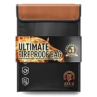 ZEUS 文件防火袋 - 双层硅胶和玻璃纤维,黑色,27.94 厘米 x 38.1 厘米 - 耐热防水保护套。