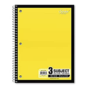 iScholar 5-Subject Wirebound Notebook, 150 Sheets, Wide Ruled, 10.5 x 8-Inches, Cover Color May Vary (78105)