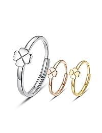 宝石1号 S925银 四叶草款 个性开口戒指 可调节 开口 女戒 戒指(3色可选) (玫瑰金色)