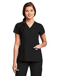 Grey's Anatomy Women's Mock Wrap Top with Princess Seams