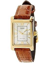 Casio 卡西歐 女士 模擬石英手表,帶皮革表帶LTP-1234PGL-7A,White/Chocolate