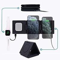 Unravel 无线充电器 10W 通用 Qi 多设备手机三重充电站,适用于 iPhone X/XR/XS/XS Max/8/8 Plus、AirPods、Galaxy S10/S9/S9+/S8+、Note 8/9、Nexus 4/5 黑色