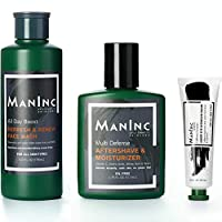 MANINC 男士日常必备*护肤套装 | 全尺寸 | 多合一套装 控油面清洗 | 咖啡因眼霜 | 清凉后保湿霜 | 适合所有肤质