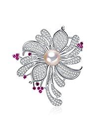 珍珠皇后 11-11.5mm淡水珍珠胸针 名媛系 优雅银色 HHY0015 (附鉴定证书)(亚马逊自营商品, 由供应商配送)