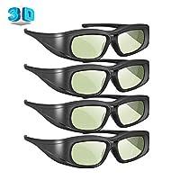 Elikliv 主動式快門3D眼鏡 兼容索尼松下三星3D電視 可充電藍牙3D眼鏡 愛普生 3D投影機 TDG-BT500A TDG-BT400A TY-ER3D5MA(4件裝)