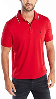 Nautica 男士经典柔软棉质纯色短袖Polo衫,Nautica Red Tipped Collar,Medium