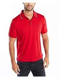 Nautica 男士经典柔软棉质纯色短袖Polo衫,Nautica Red Tipped Collar,Large