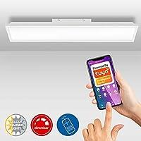 Briloner Leuchten LED 面板,吸顶灯可调光,WiFi,色温控制,应用程序操作,包括遥控器,24瓦,1.840流明,白色,1.000x250x65毫米(长x宽x高)