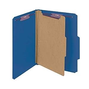 "Smead Pressboard Classification File Folder with SafeSHIELD Fasteners, 1 Divider, 2"" Expansion, Letter Size, Dark Blue, 10 per Box (13732)"