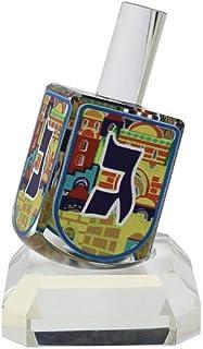 优质 Judaica 装饰水晶展示梦幻,带支架和多色耶路撒冷图案