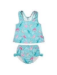 i play. by green sprouts 两件式分体式泳衣带按扣可重复使用游泳尿布   女婴泳衣   轻质,*设计