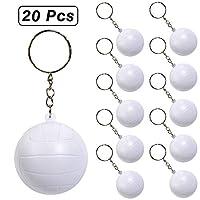 PROLOSO 20 件棒球足球高尔夫钥匙扣 男孩儿童泡沫运动钥匙圈篮球排球足球主题派对礼物 Volleyball Keychians