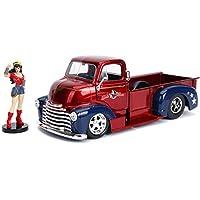 Jada Toys 30453 DC Comics Bombshells Wonder Woman & 1952 雪佛兰科皮卡压铸汽车,1:24 比例汽车和 2.75 英寸收藏小雕像