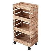 DOSHISHA 厨房储物架 天然木材 可堆叠(叠式) 带盖子、脚轮 自然色 幅38×奥行26×高さ76.5cm SKBF-3NA