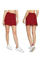 cityoung 女式休闲打褶高尔夫短裙空气室下短裤跑步 skorts