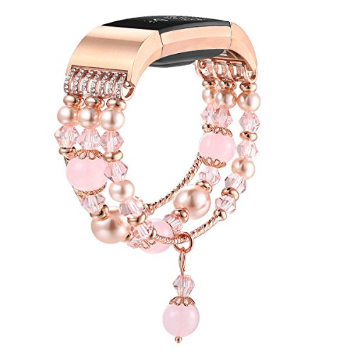 fastgo 适用于 Fitbit Charge 2戒指,珠宝弹性串珠手表表带带适用于 Charge 2智能手表女式