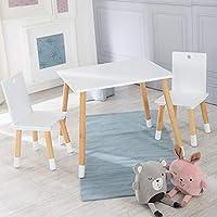 Roba 儿童座椅组 儿童家具套装 2 个儿童椅 & 1 个桌子 白色喷漆