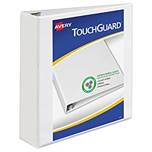 Avery Touchguard Antimicrobial View Binder with One Touch EZD Ring, White