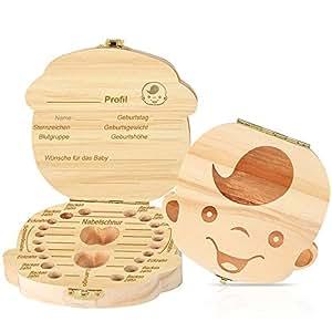 YANSEN 木质牛奶牙盒牙盒牙罐儿童纪念品牙齿盒儿童纪念盒儿童牛奶牙齿罐木牛奶齿盒牙盒牙盒牙盒礼品盒男孩