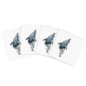 Kess InHouse Graham Curran Shark Record 户外餐垫,15 x 15 英寸,4 件套