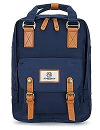 SEVENTEEN LONDON Marylebone 经典中性款背包,学院旅行行李箱,适合 13 英寸笔记本电脑 - 4 种颜色