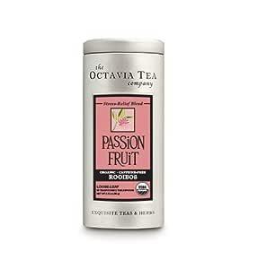 Octavia Tea Passion Fruit (Organic, Caffeine-Free Red Tea/Rooibos) Loose Tea, 2.12 Ounce Tin