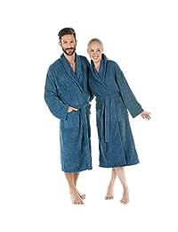CelinaTex 毛巾布 浴袍 带披肩领 棉质 蓝色 Medium