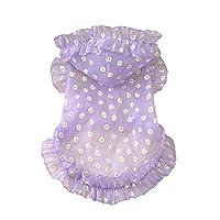 BlueSea 狗*衬衫薄款夏季防紫外线连帽衫裙子带蕾丝适合小宠物 紫色