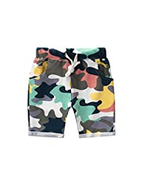 YEMOCILE 儿童男孩夏季迷彩及膝婴儿下装束腰短裤带口袋