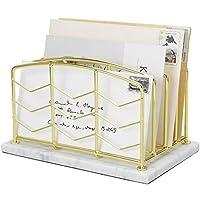 MyGift 4 槽高级现代黄铜镀金金属线桌面邮件分类整理架带天然白色大理石底座