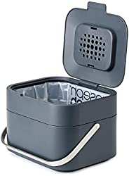 Joseph Joseph 30016智能混合垃圾桶 食物垃圾罐,带有除臭和通风功能,1加仑/ 4升,石墨色