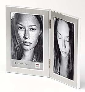 Walther 设计 PJ015S 爵士金属肖像框架 Matt Silver 2X 5 x 7 inch - 2X 13 x 18 cm PJ218S
