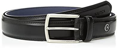 Nautica Men's Feathered Edge with Double-Stitch Casual Leather Belt,black, 30